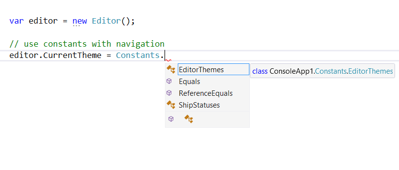 screenshot showing intellisense of constants in groups