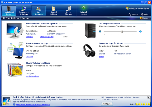 windows home server console