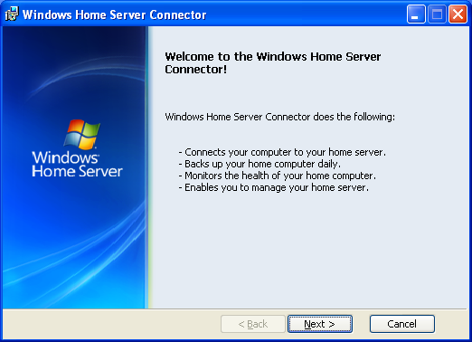 windows home server connector setup