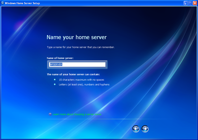 windows home server name your home server