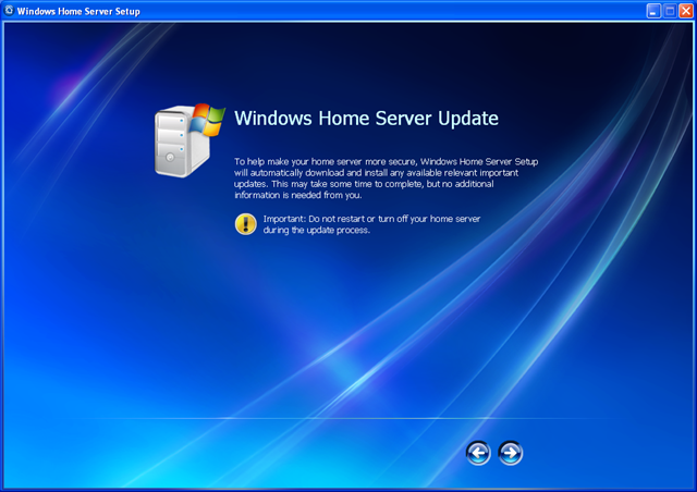 windows home server update