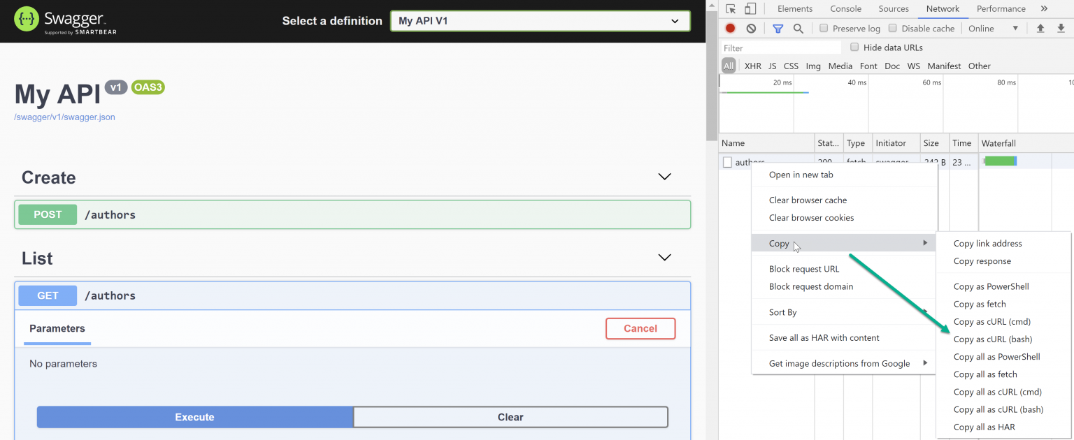 Screenshot of Swagger and Chrome Dev Tools.