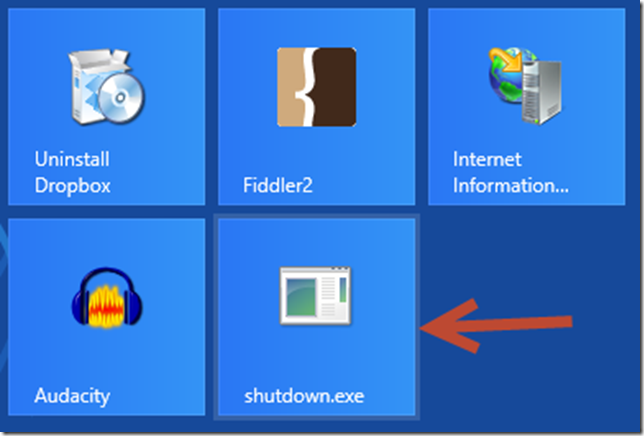 windows 8 shutdown tile