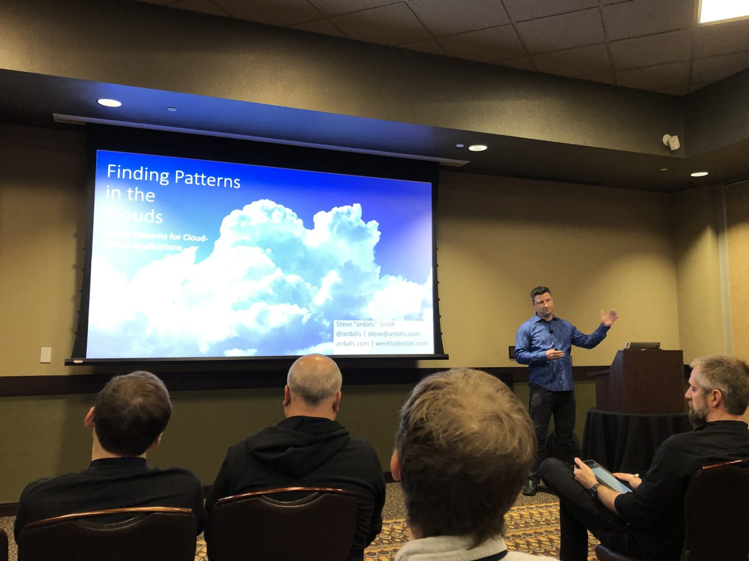 Steve Smith presenting on Cloud Design Patterns at Codemash 2020.