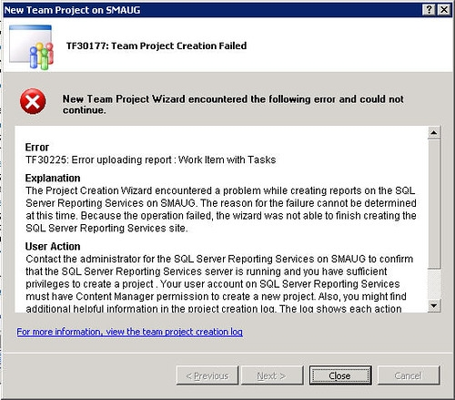 Team Project Creation Failed TF30225