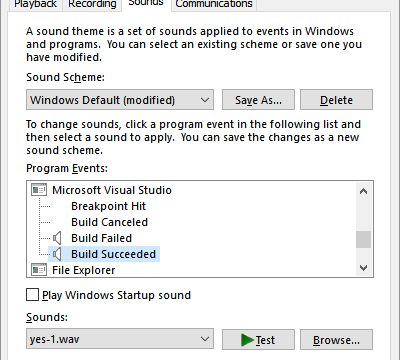 featured image thumbnail for post Configure Sounds for Builds in Visual Studio