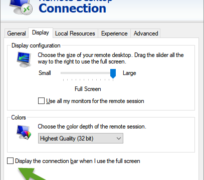 How to Hide the Connection Bar in Remote Desktop Connection (RDP)