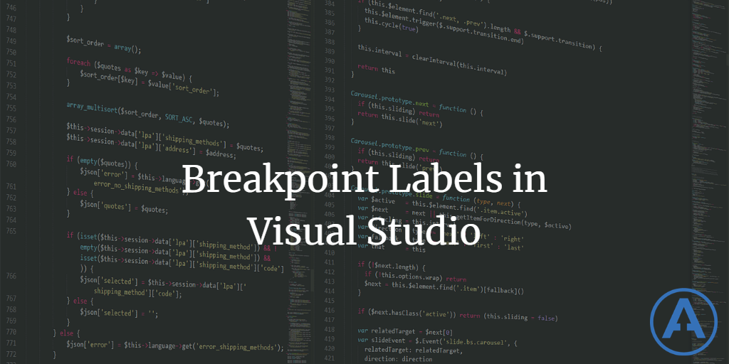 Breakpoint Labels in Visual Studio